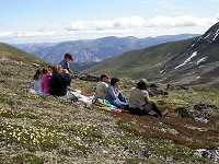 A picnic on the tundra high on Montana Mountain in the southern Yukon