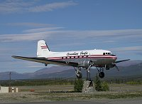 A DC-3 mounted as the world's largest wind vane at Whitehorse, Yukon